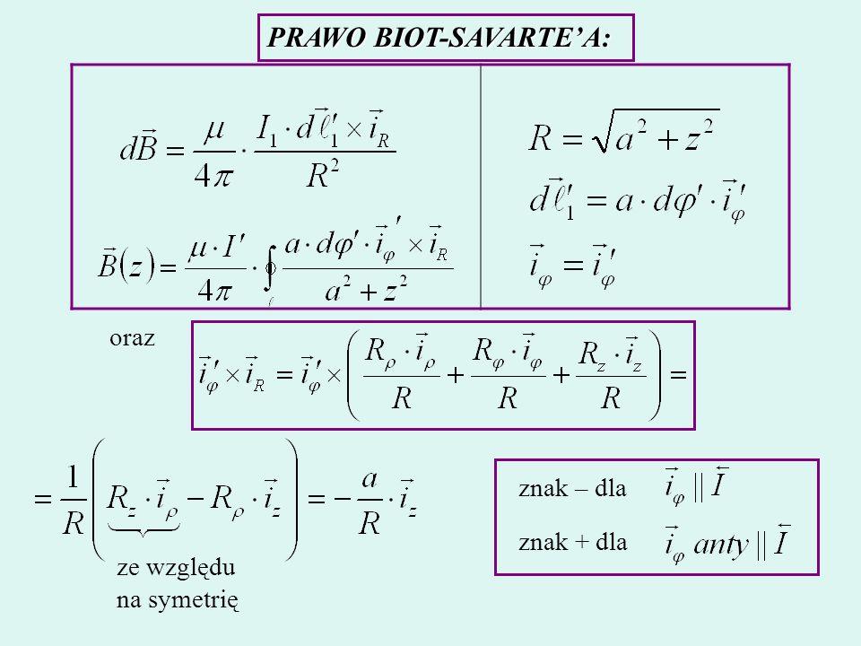 PRAWO BIOT-SAVARTEA: oraz ze względu na symetrię znak – dla znak + dla