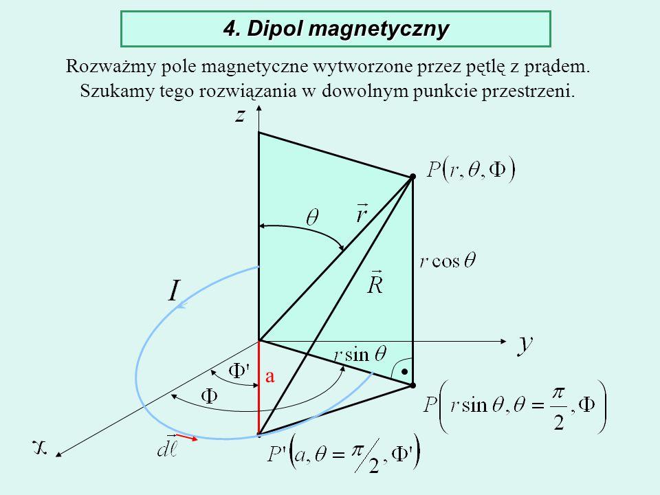 4. Dipol magnetyczny Rozważmy pole magnetyczne wytworzone przez pętlę z prądem. Szukamy tego rozwiązania w dowolnym punkcie przestrzeni. a