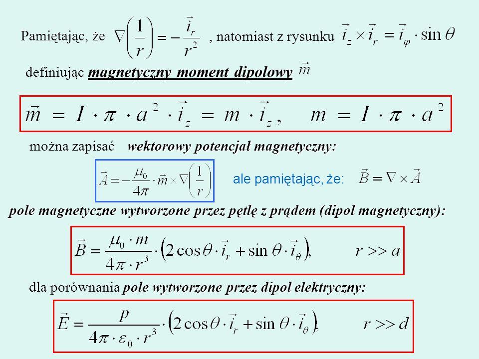 Pamiętając, że, natomiast z rysunku magnetyczny moment dipolowy definiując magnetyczny moment dipolowy można zapisać wektorowy potencjał magnetyczny: