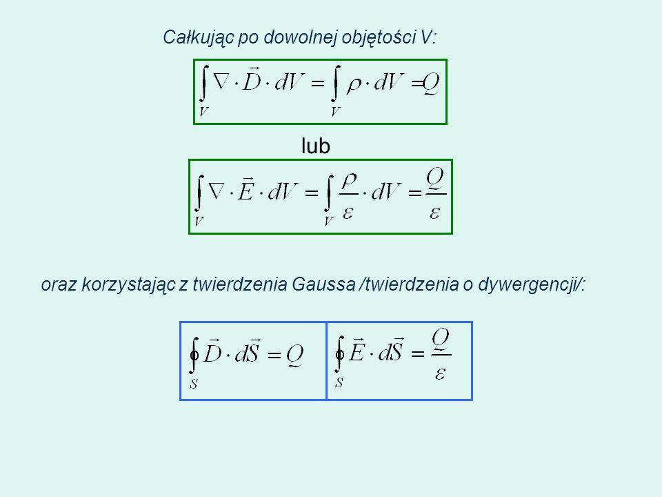 Całkując po dowolnej objętości V: lub oraz korzystając z twierdzenia Gaussa /twierdzenia o dywergencji/: