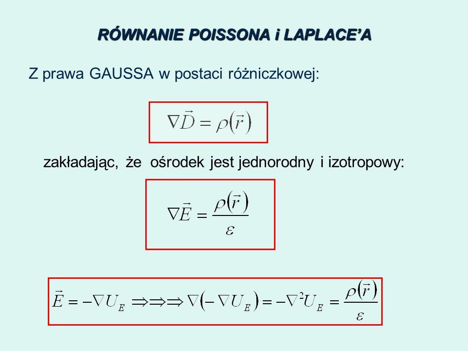 RÓWNANIE POISSONA i LAPLACEA Z prawa GAUSSA w postaci różniczkowej: zakładając, żeośrodek jest jednorodny i izotropowy: