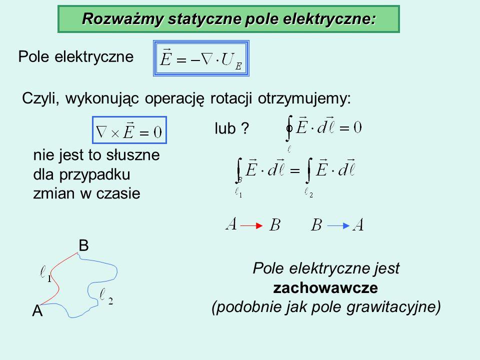 Rozważmy statyczne pole elektryczne: Pole elektryczne Czyli, wykonując operację rotacji otrzymujemy: lub ? nie jest to słuszne dla przypadku zmian w c