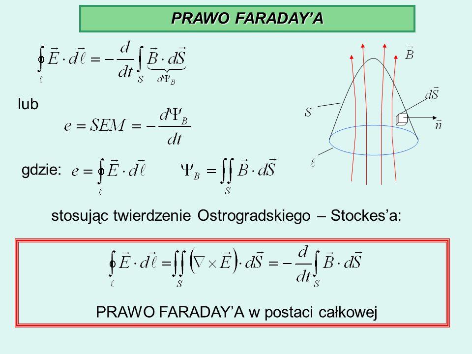 PRAWO FARADAYA lub gdzie: stosując twierdzenie Ostrogradskiego – Stockesa: PRAWO FARADAYA w postaci całkowej