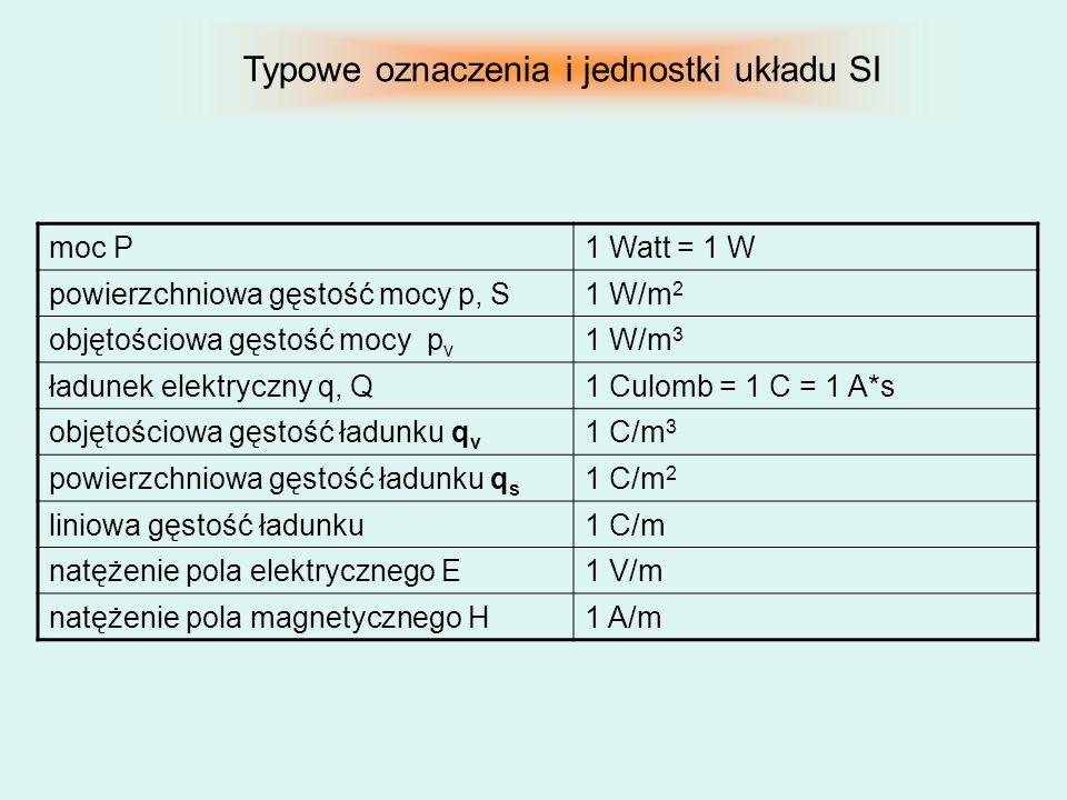 moc P1 Watt = 1 W powierzchniowa gęstość mocy p, S1 W/m 2 objętościowa gęstość mocy p v 1 W/m 3 ładunek elektryczny q, Q1 Culomb = 1 C = 1 A*s objętoś