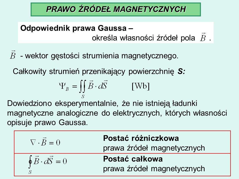 PRAWO ŹRÓDEŁ MAGNETYCZNYCH Odpowiednik prawa Gaussa – określa własności źródeł pola. - wektor gęstości strumienia magnetycznego. Całkowity strumień pr