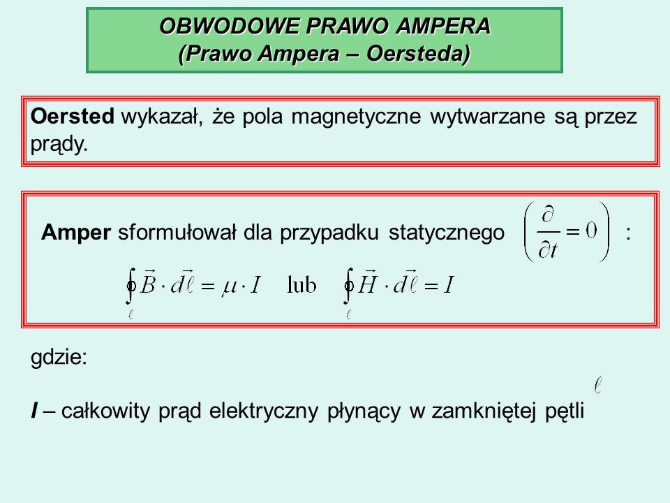 OBWODOWE PRAWO AMPERA (Prawo Ampera – Oersteda) Oersted wykazał, że pola magnetyczne wytwarzane są przez prądy. Amper sformułował dla przypadku statyc