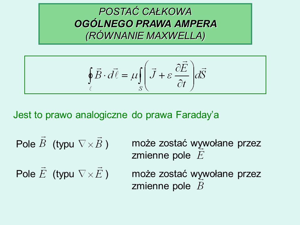 POSTAĆ CAŁKOWA OGÓLNEGO PRAWA AMPERA (RÓWNANIE MAXWELLA) Jest to prawo analogiczne do prawa Faradaya Pole (typu ) może zostać wywołane przez zmienne p