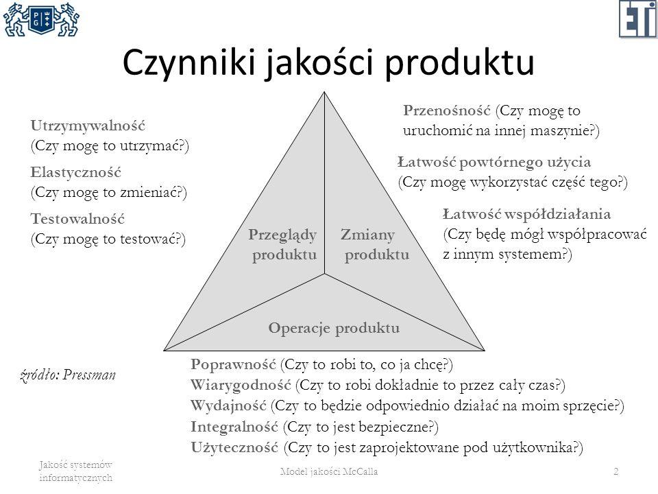 Ogólność (generality) zakres potencjalnych zastosowań programu – Ile klas zastosowań ma program.