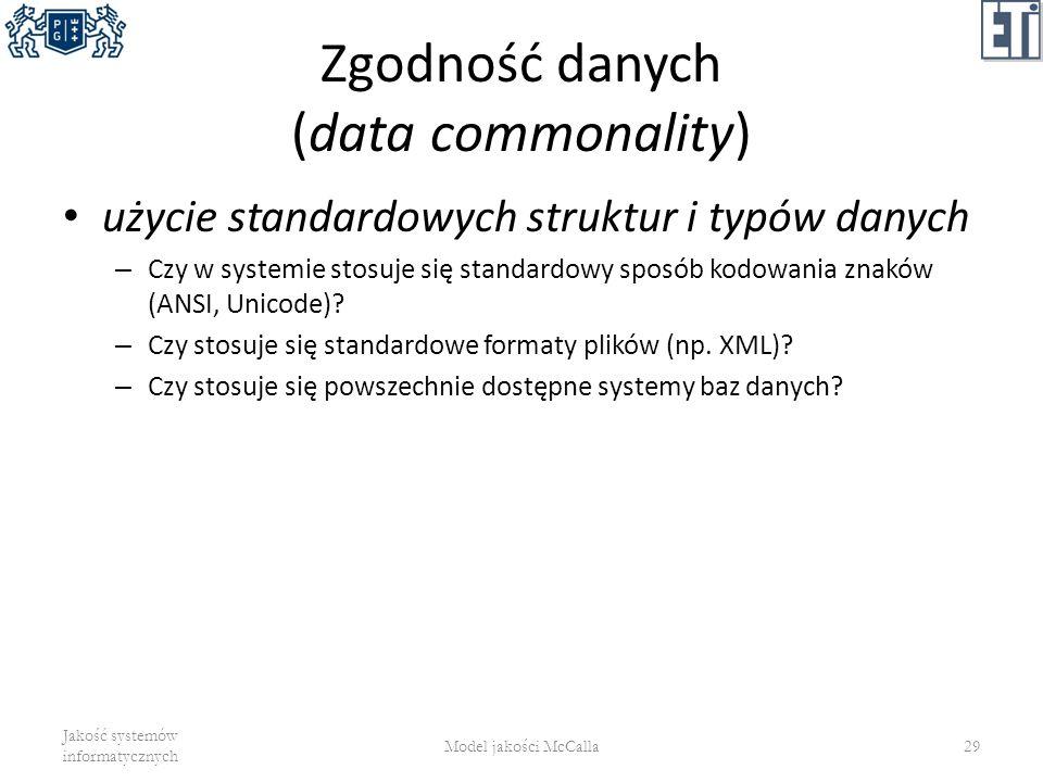 Zgodność danych (data commonality) użycie standardowych struktur i typów danych – Czy w systemie stosuje się standardowy sposób kodowania znaków (ANSI