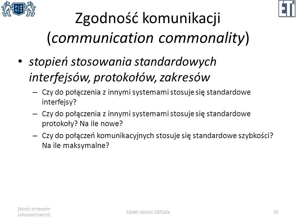 Zgodność komunikacji (communication commonality) stopień stosowania standardowych interfejsów, protokołów, zakresów – Czy do połączenia z innymi syste