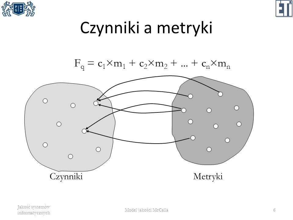 Czynniki a metryki Jakość systemów informatycznych Model jakości McCalla6 F q = c 1 ×m 1 + c 2 ×m 2 +... + c n ×m n CzynnikiMetryki