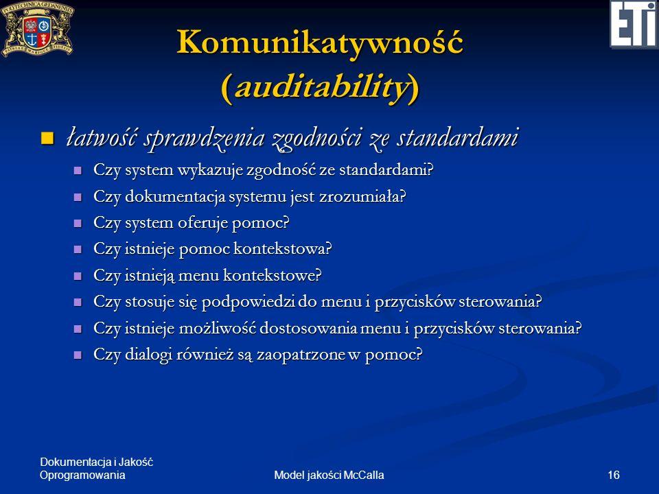 Dokumentacja i Jakość Oprogramowania 16Model jakości McCalla Komunikatywność (auditability) łatwość sprawdzenia zgodności ze standardami łatwość spraw