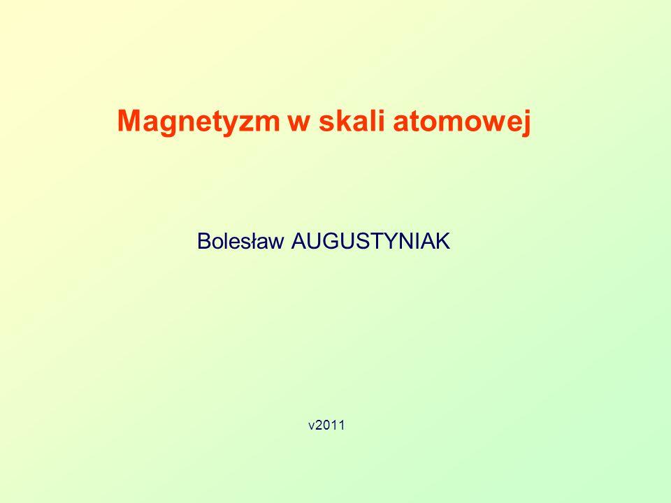 Bolesław AUGUSTYNIAK 42 Kwantowanie momentu pędu 2 Rzut momentu pędu na kierunek pola B jest skwantowany !!.