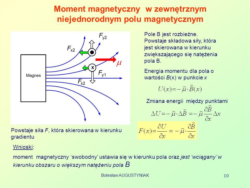 Bolesław AUGUSTYNIAK 10 Moment magnetyczny w zewnętrznym niejednorodnym polu magnetycznym Wnioski: moment magnetyczny swobodny ustawia się w kierunku