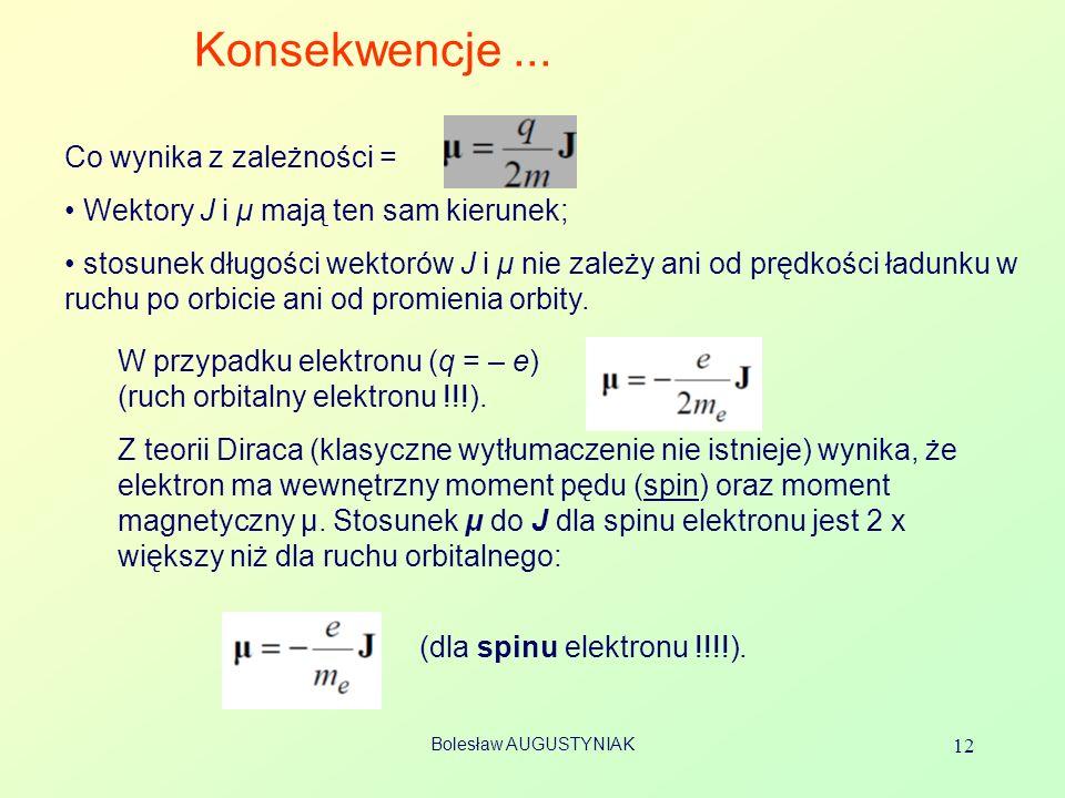 Bolesław AUGUSTYNIAK 12 Konsekwencje... Co wynika z zależności = Wektory J i μ mają ten sam kierunek; stosunek długości wektorów J i μ nie zależy ani