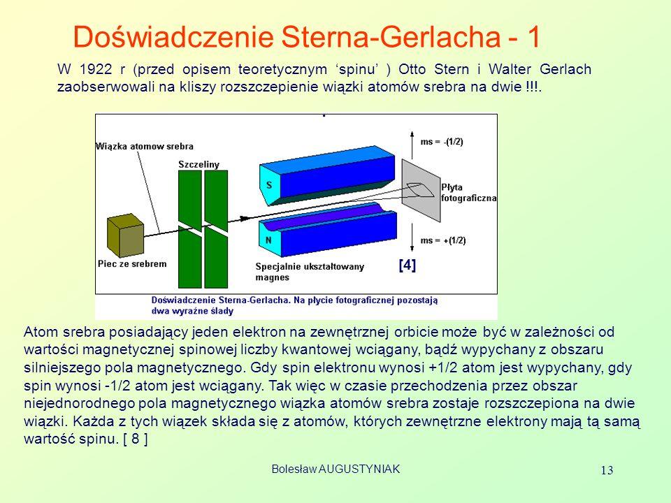 Bolesław AUGUSTYNIAK 13 Doświadczenie Sterna-Gerlacha - 1 [4] W 1922 r (przed opisem teoretycznym spinu ) Otto Stern i Walter Gerlach zaobserwowali na