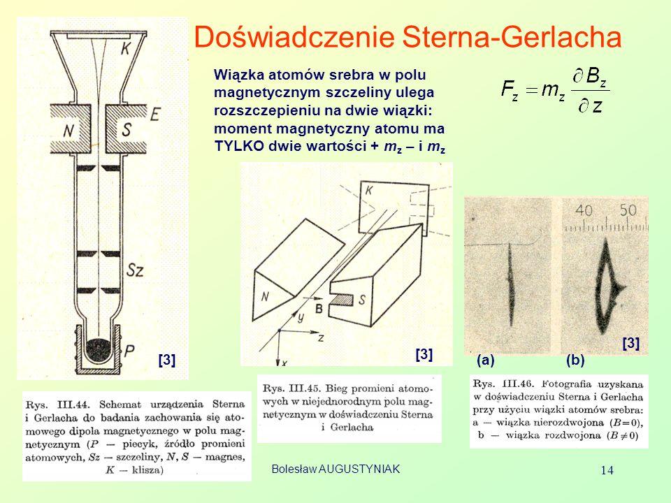 Bolesław AUGUSTYNIAK 14 Doświadczenie Sterna-Gerlacha [3] Wiązka atomów srebra w polu magnetycznym szczeliny ulega rozszczepieniu na dwie wiązki: mome