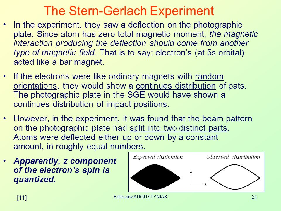 Bolesław AUGUSTYNIAK 21 The Stern-Gerlach Experiment In the experiment, they saw a deflection on the photographic plate. Since atom has zero total mag