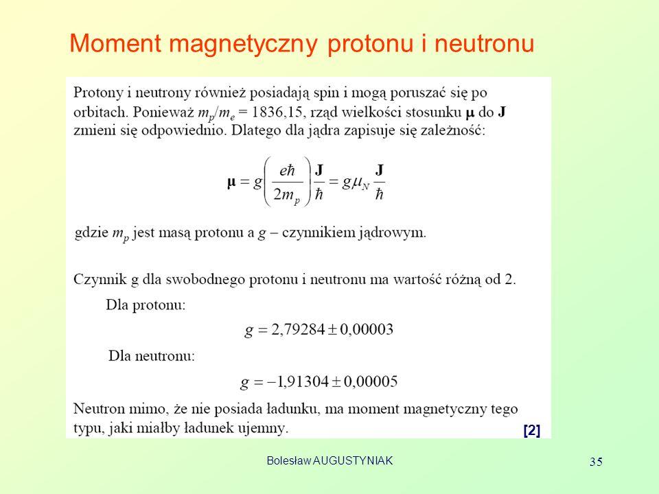 Bolesław AUGUSTYNIAK 35 Moment magnetyczny protonu i neutronu [2]