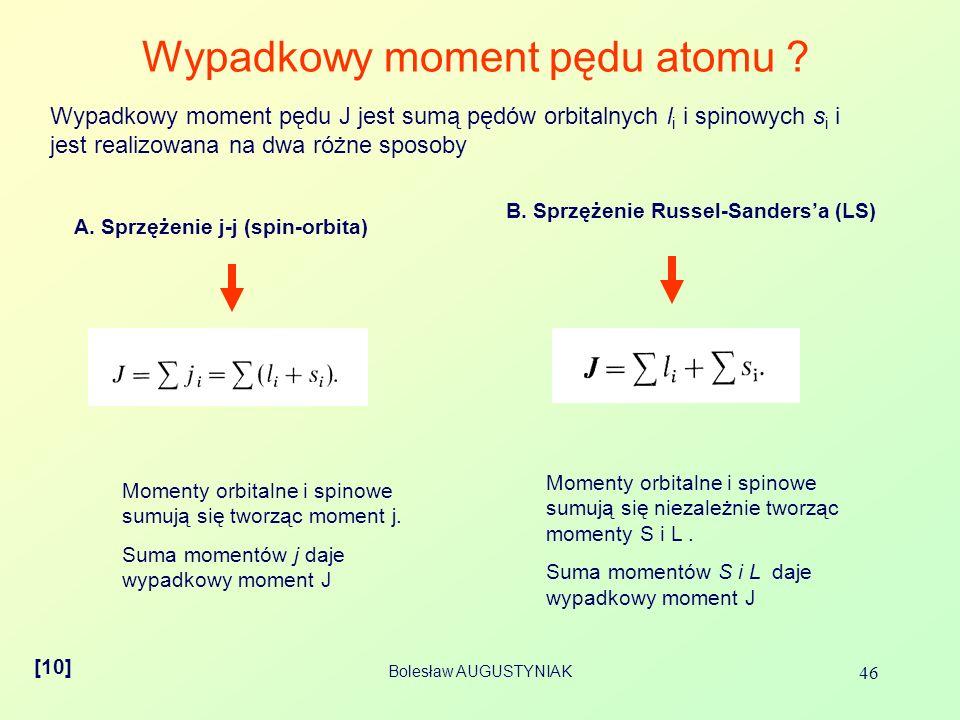 Bolesław AUGUSTYNIAK 46 Wypadkowy moment pędu atomu ? Wypadkowy moment pędu J jest sumą pędów orbitalnych l i i spinowych s i i jest realizowana na dw