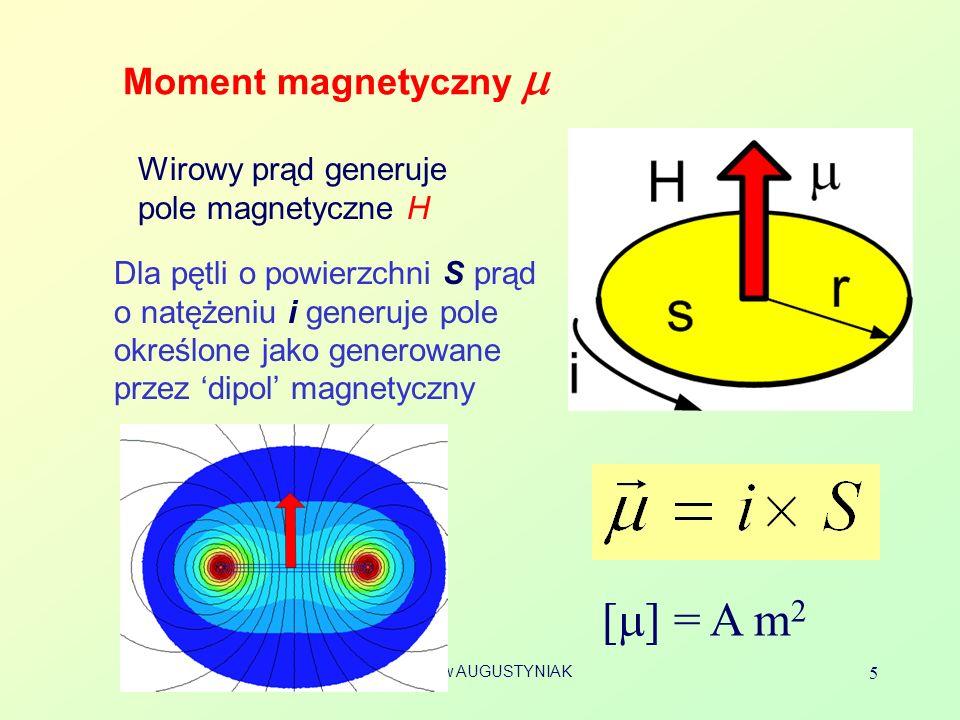 Bolesław AUGUSTYNIAK 26 Magneton Bohra Moment magnetyczny m elektronu poruszającego się po okręgu jest przeciwnie skierowany względem momentu pędu [1] masa m e =9.109 ×10 -31 kg Mechanika kwantowa: dla elektronu – mierzony względem kierunku B moment pędu jest wielokrotnością stałej Plancka Odpowiadający mu moment magnetyczny Definicja magnetonu Bohra: B = 0,927 10 -23 A m 2 UWAGA: l z jest liczbą niemianowaną (liczba kwantowa) a l – jest momentem pędu