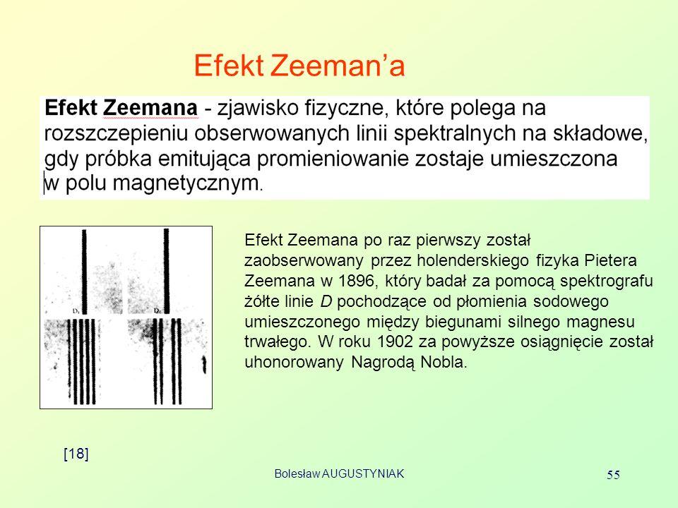 Bolesław AUGUSTYNIAK 55 Efekt Zeemana [18] Efekt Zeemana po raz pierwszy został zaobserwowany przez holenderskiego fizyka Pietera Zeemana w 1896, któr