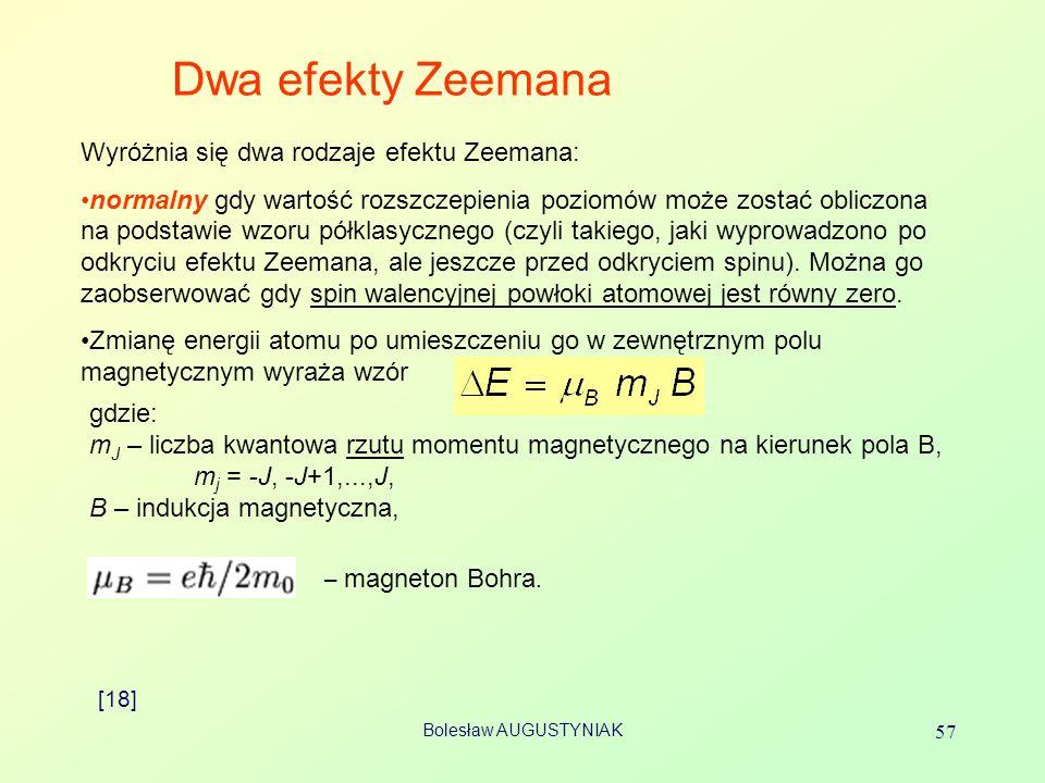 Bolesław AUGUSTYNIAK 57 Dwa efekty Zeemana Wyróżnia się dwa rodzaje efektu Zeemana: normalny gdy wartość rozszczepienia poziomów może zostać obliczona