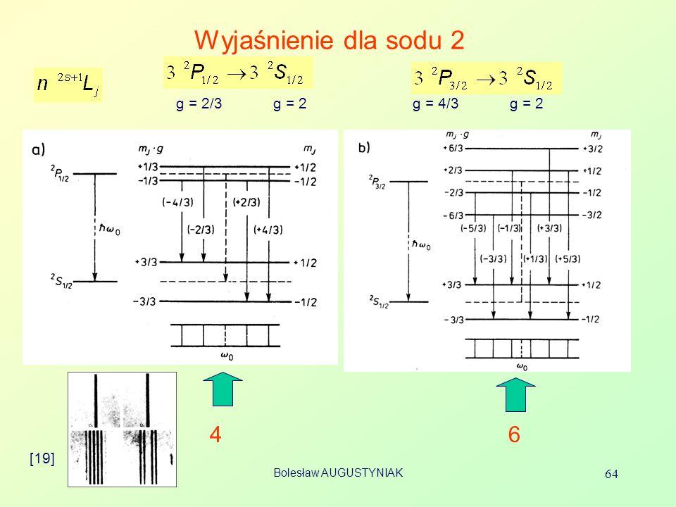 Bolesław AUGUSTYNIAK 64 Wyjaśnienie dla sodu 2 [19] 46 g = 2/3 g = 2 g = 4/3 g = 2