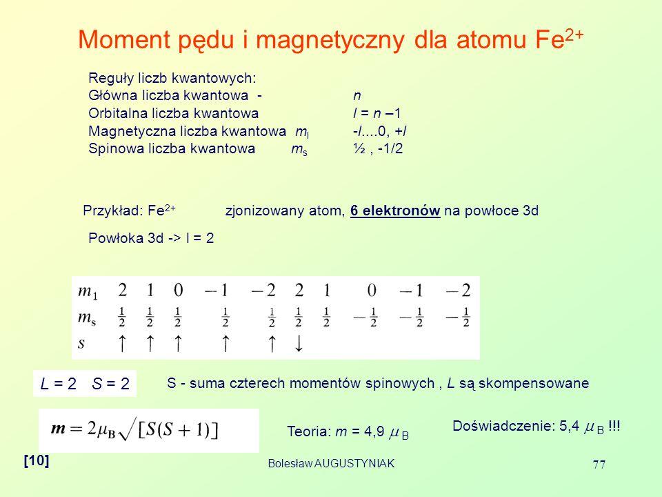 Bolesław AUGUSTYNIAK 77 Moment pędu i magnetyczny dla atomu Fe 2+ [10] Reguły liczb kwantowych: Główna liczba kwantowa - n Orbitalna liczba kwantowa l