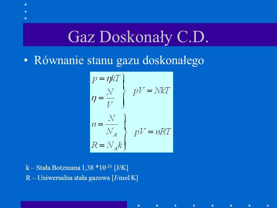 Gaz Doskonały C.D. Równanie stanu gazu doskonałego k – Stała Botzmana 1,38 *10 -23 [J/K] R – Uniwersalna stała gazowa [J/mol K]