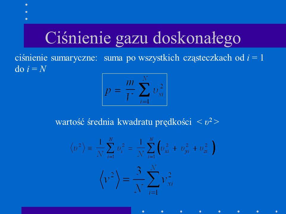 Ciśnienie gazu doskonałego ciśnienie sumaryczne: suma po wszystkich cząsteczkach od i = 1 do i = N wartość średnia kwadratu prędkości