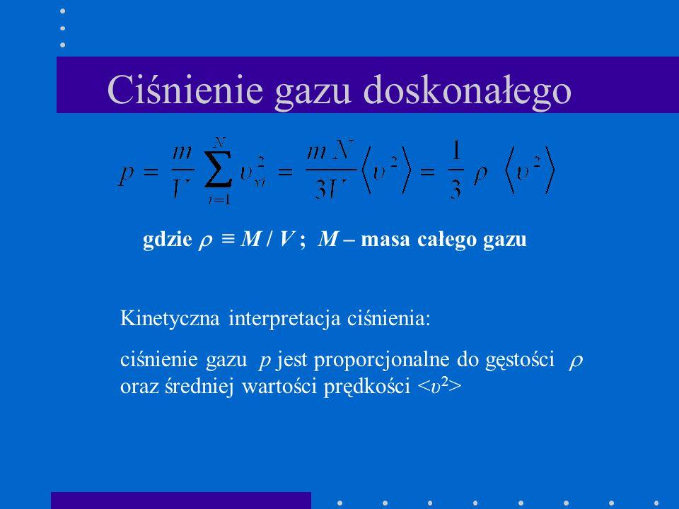 Ciśnienie gazu doskonałego gdzie M / V ; M – masa całego gazu Kinetyczna interpretacja ciśnienia: ciśnienie gazu p jest proporcjonalne do gęstości ora