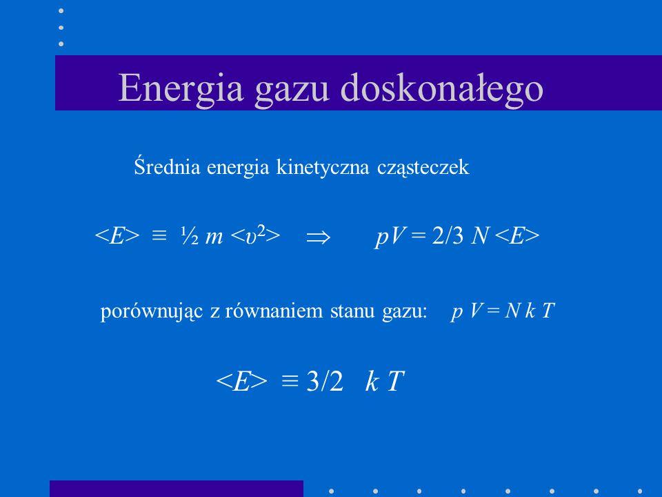 Energia gazu doskonałego Średnia energia kinetyczna cząsteczek ½ m pV = 2/3 N porównując z równaniem stanu gazu: p V = N k T 3/2 k T