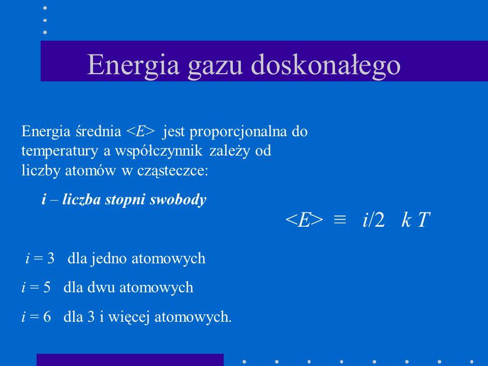 Energia gazu doskonałego Energia średnia jest proporcjonalna do temperatury a współczynnik zależy od liczby atomów w cząsteczce: i – liczba stopni swo
