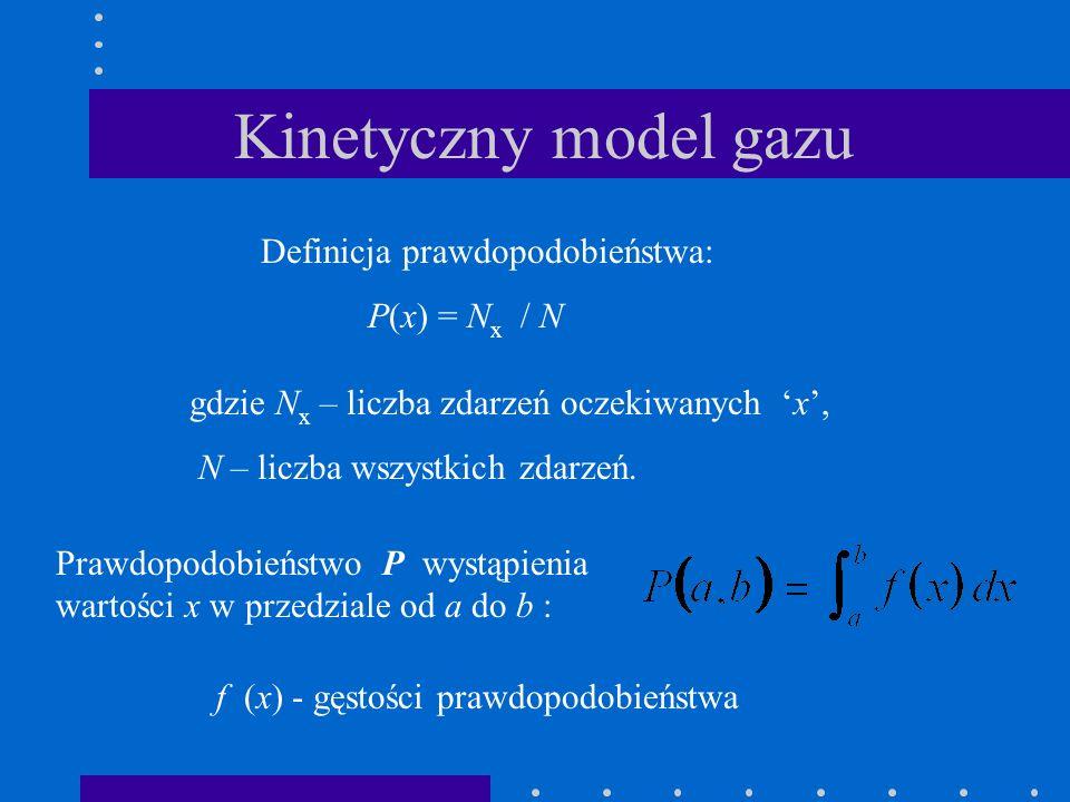 Kinetyczny model gazu Definicja prawdopodobieństwa: P(x) = N x / N gdzie N x – liczba zdarzeń oczekiwanych x, N – liczba wszystkich zdarzeń. f (x) - g