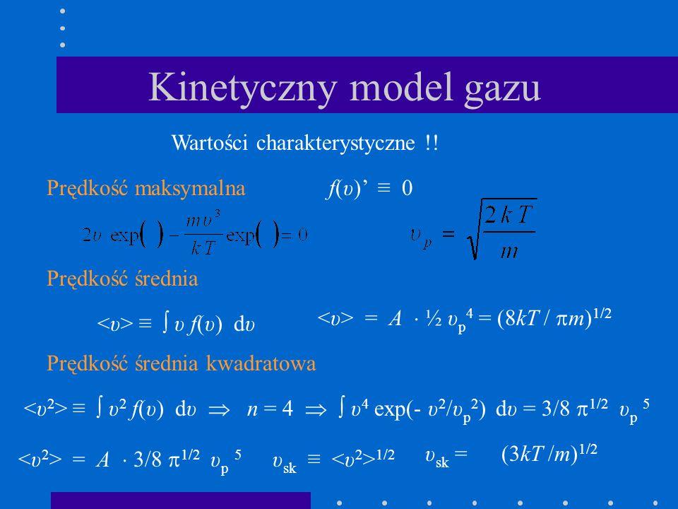 Kinetyczny model gazu Wartości charakterystyczne !! Prędkość maksymalnaf(υ) 0 Prędkość średnia υ f(υ) dυ = A ½ υ p 4 = (8kT / m) 1/2 Prędkość średnia