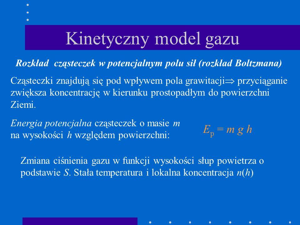 Kinetyczny model gazu Rozkład cząsteczek w potencjalnym polu sił (rozkład Boltzmana) Cząsteczki znajdują się pod wpływem pola grawitacji przyciąganie
