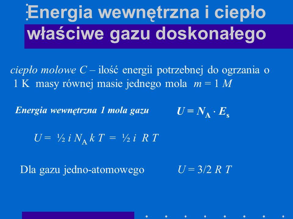 Energia wewnętrzna i ciepło właściwe gazu doskonałego ciepło molowe C – ilość energii potrzebnej do ogrzania o 1 K masy równej masie jednego mola m =