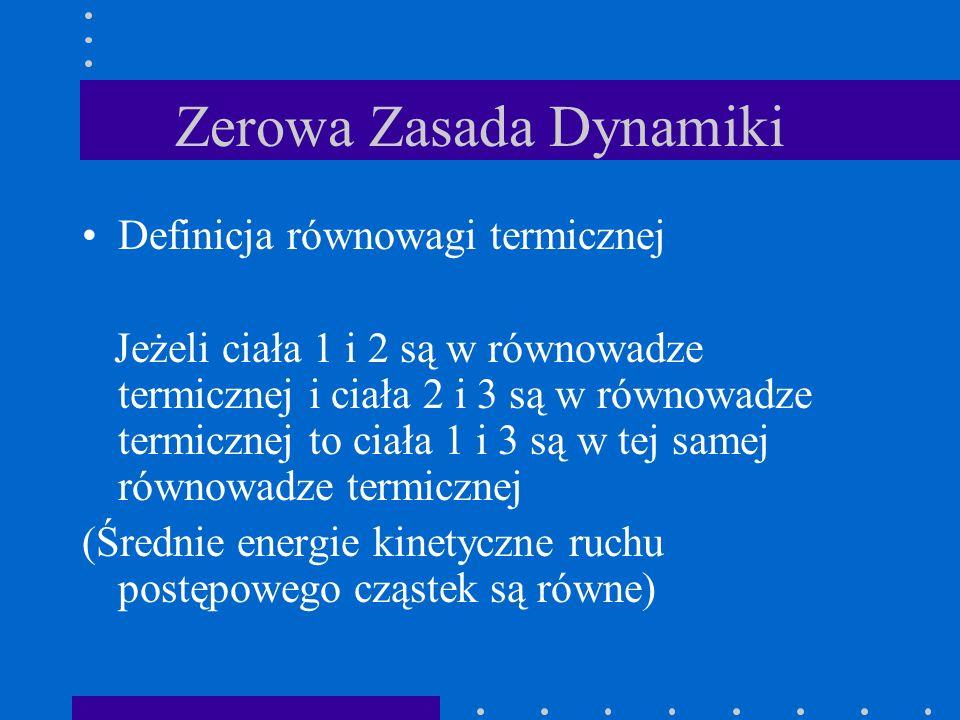 Zerowa Zasada Dynamiki Definicja równowagi termicznej Jeżeli ciała 1 i 2 są w równowadze termicznej i ciała 2 i 3 są w równowadze termicznej to ciała