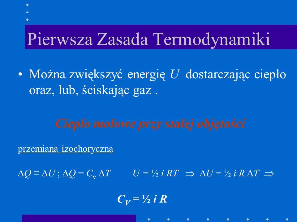 Pierwsza Zasada Termodynamiki Można zwiększyć energię U dostarczając ciepło oraz, lub, ściskając gaz. Ciepło molowe przy stałej objętości przemiana iz