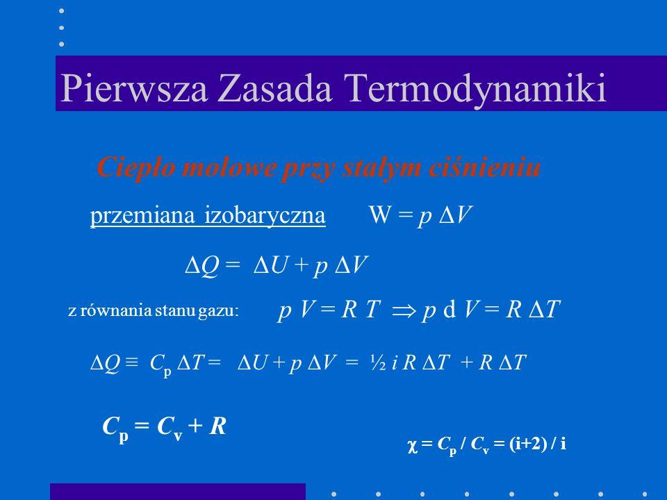Pierwsza Zasada Termodynamiki Ciepło molowe przy stałym ciśnieniu przemiana izobaryczna W = p V Q = U + p V p V = R T p d V = R T z równania stanu gaz