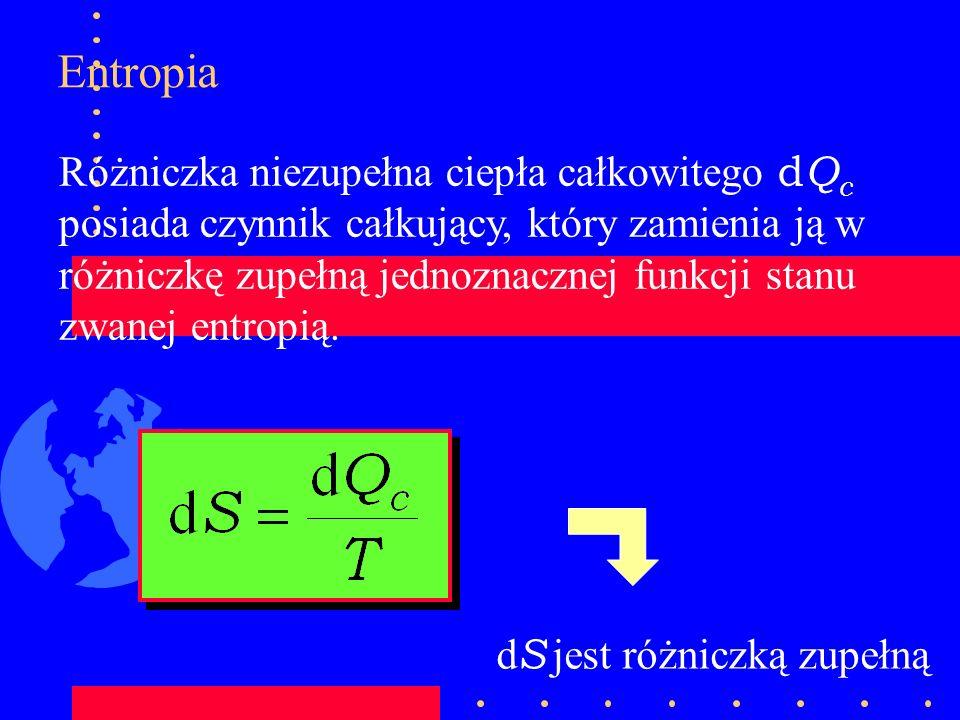 Entropia Różniczka niezupełna ciepła całkowitego d Q c posiada czynnik całkujący, który zamienia ją w różniczkę zupełną jednoznacznej funkcji stanu zw