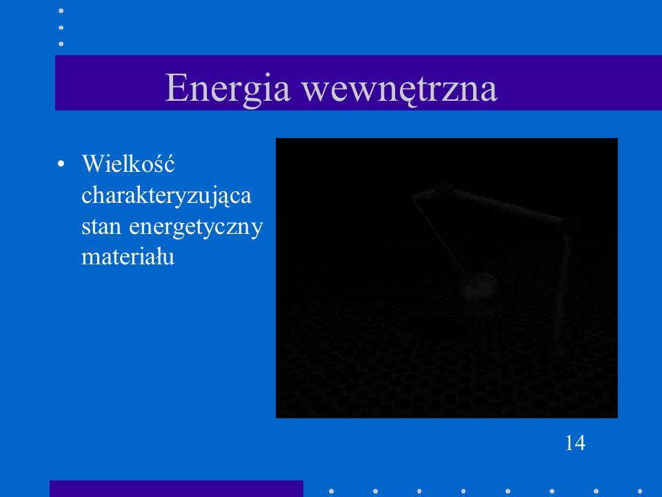 Energia wewnętrzna Wielkość charakteryzująca stan energetyczny materiału 14