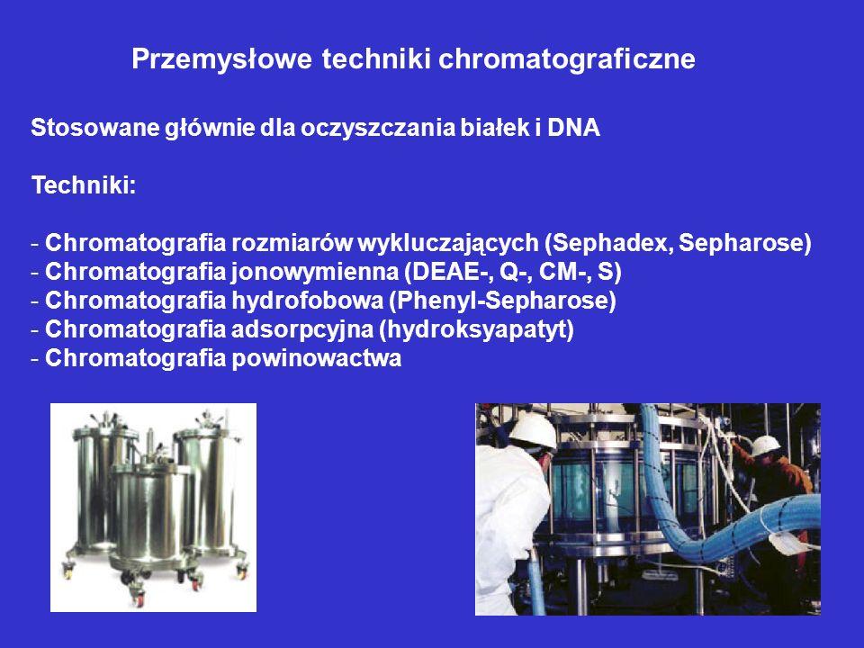 Przemysłowe techniki chromatograficzne Stosowane głównie dla oczyszczania białek i DNA Techniki: - Chromatografia rozmiarów wykluczających (Sephadex,