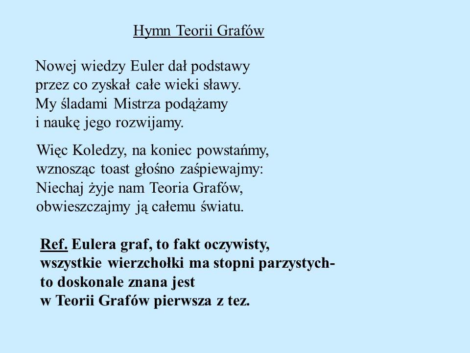 Hymn Teorii Grafów Nowej wiedzy Euler dał podstawy przez co zyskał całe wieki sławy. My śladami Mistrza podążamy i naukę jego rozwijamy. Więc Koledzy,