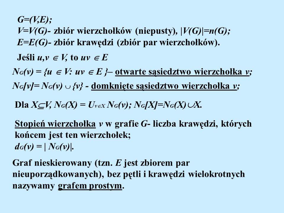 G=(V,E); V=V(G)- zbiór wierzchołków (niepusty),  V(G) =n(G); E=E(G)- zbiór krawędzi (zbiór par wierzchołków). N G (v) = {u V: uv E }– otwarte sąsiedzt