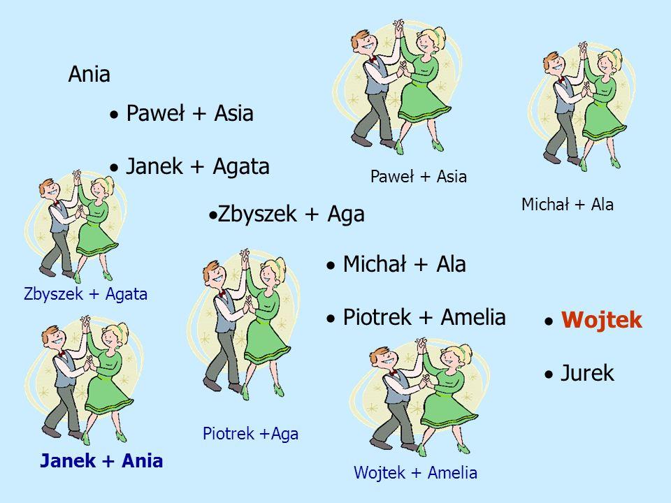 Ania Paweł + Asia Janek + Agata Zbyszek + Aga Michał + Ala Piotrek + Amelia Wojtek Jurek Janek + Ania Zbyszek + Agata Wojtek + Amelia Piotrek +Aga Paw