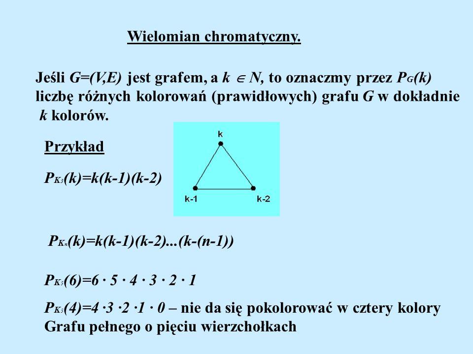 Wielomian chromatyczny. Jeśli G=(V,E) jest grafem, a k N, to oznaczmy przez P G (k) liczbę różnych kolorowań (prawidłowych) grafu G w dokładnie k kolo