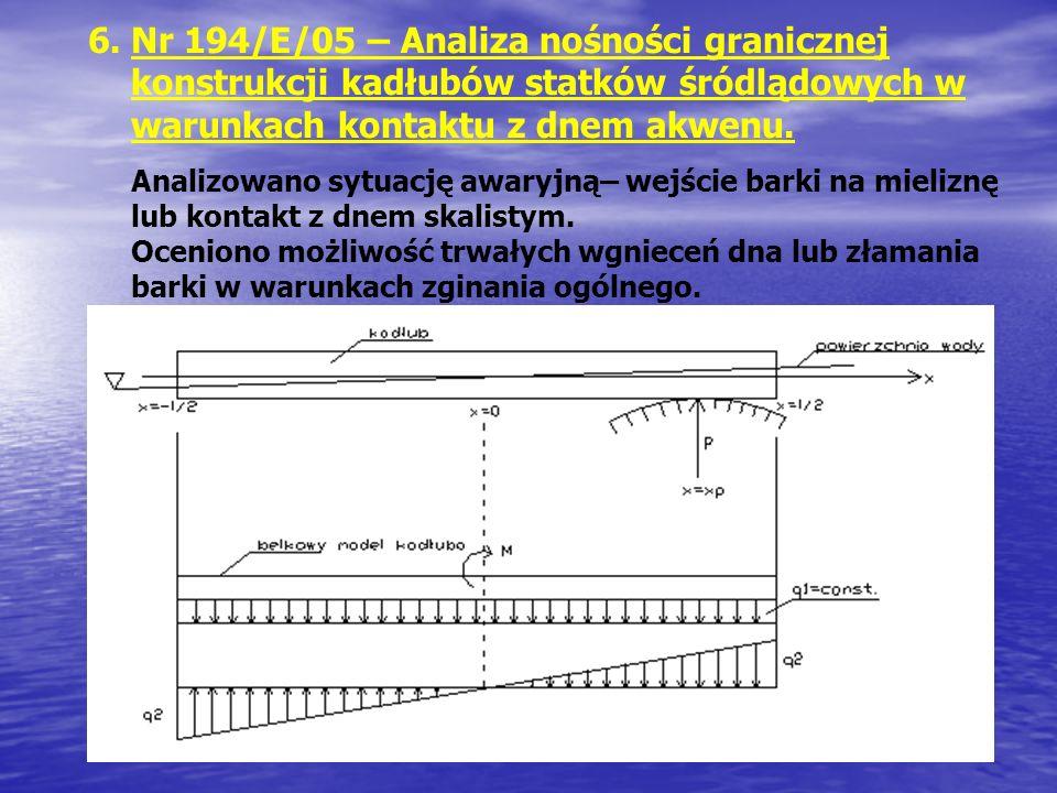 6.Nr 194/E/05 – Analiza nośności granicznej konstrukcji kadłubów statków śródlądowych w warunkach kontaktu z dnem akwenu. Analizowano sytuację awaryjn