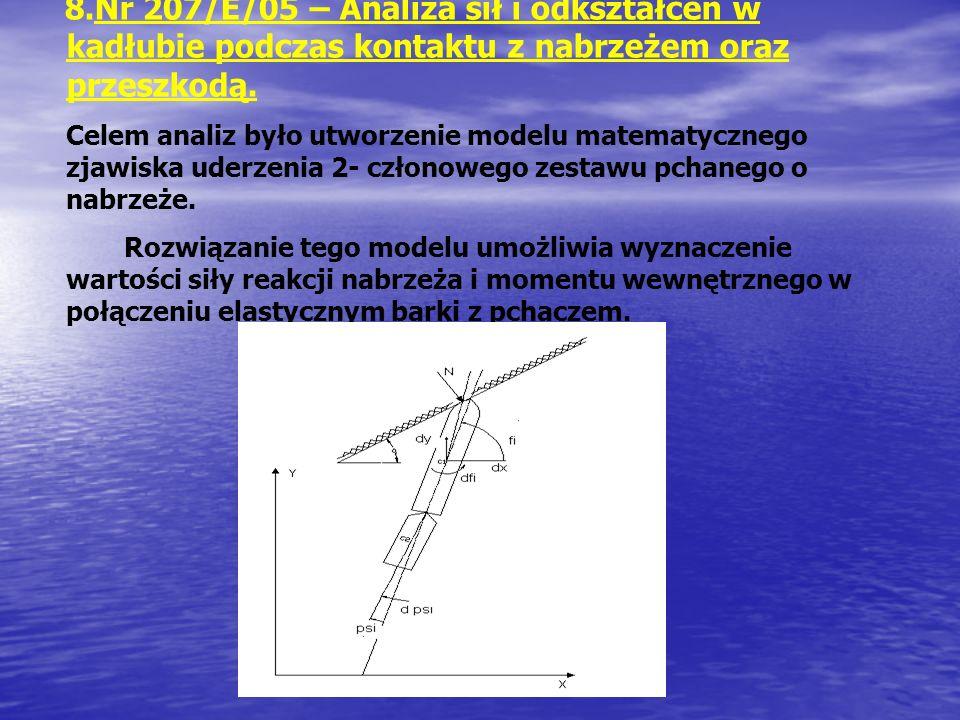 8.Nr 207/E/05 – Analiza sił i odkształceń w kadłubie podczas kontaktu z nabrzeżem oraz przeszkodą. Celem analiz było utworzenie modelu matematycznego